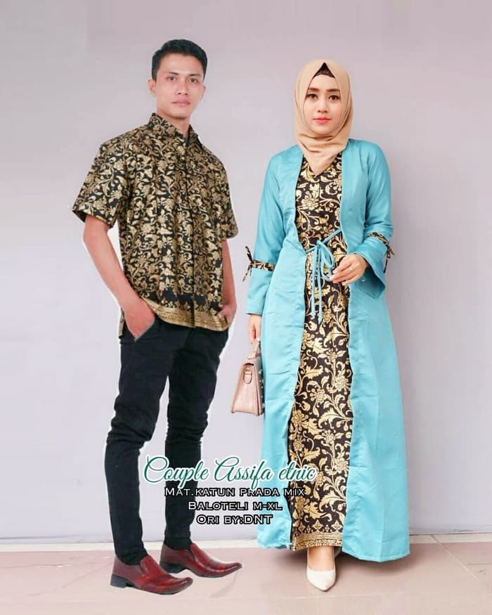 Model Gamis Batik Pesta Couple 1