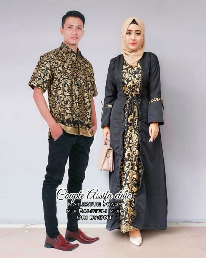 Model Gamis Batik Pesta Couple 10