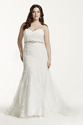 Lace Plus Size Wedding Dress with Scalloped Hem Style 9V3680  Soft     Lace Plus Size Wedding Dress with Scalloped Hem Style 9V3680  Soft White   18W