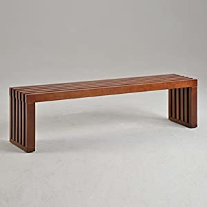 Amazon Com Slat Bench 60 Inch Walnut Finish Is Perfect