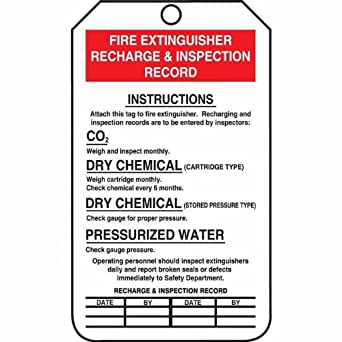 Tag, Fire Extinguisher Recharge & Inspection Record, 5 7/8 ...