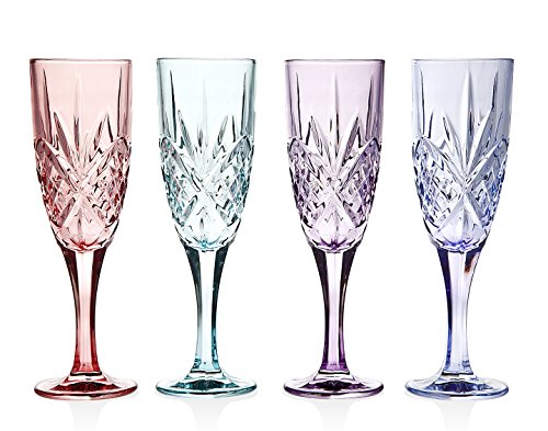 Colored Champagne Flutes Sparkling Crystal Set 4 Table ...