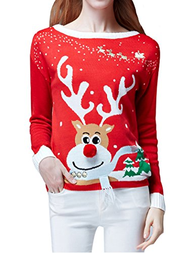 Women's Ugly Christmas Sweater, V28 Ladies Girls Cute ...