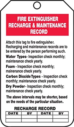 Accuform Signs TRS211PTP Fire Extinguisher Tag, Legend ...