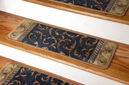 Sale Dean Premium Carpet Stair Treads Navy Scrollwork O | Dean Premium Carpet Stair Treads | Keshan Chocolate | Classic Keshan | Gripper Tape | Friendly Diy | Nylon Carpet