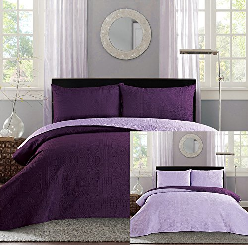 New King Cal King Bed Luxury 3 Piece Purple Reversible
