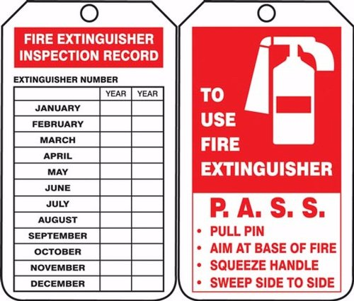 "FIRE EXTINGUISHER INSPECTION RECORD... Tags 4 1/4"" x 2 1/8 ..."
