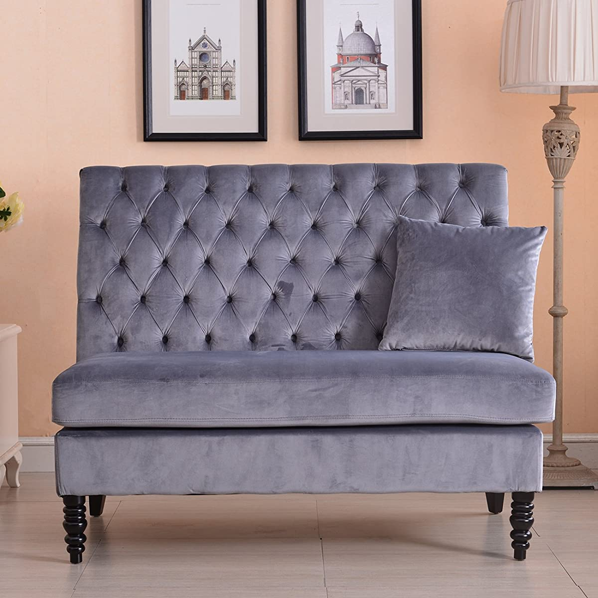 Velvet Modern Tufted Settee Bench Bedroom Sofa High Back