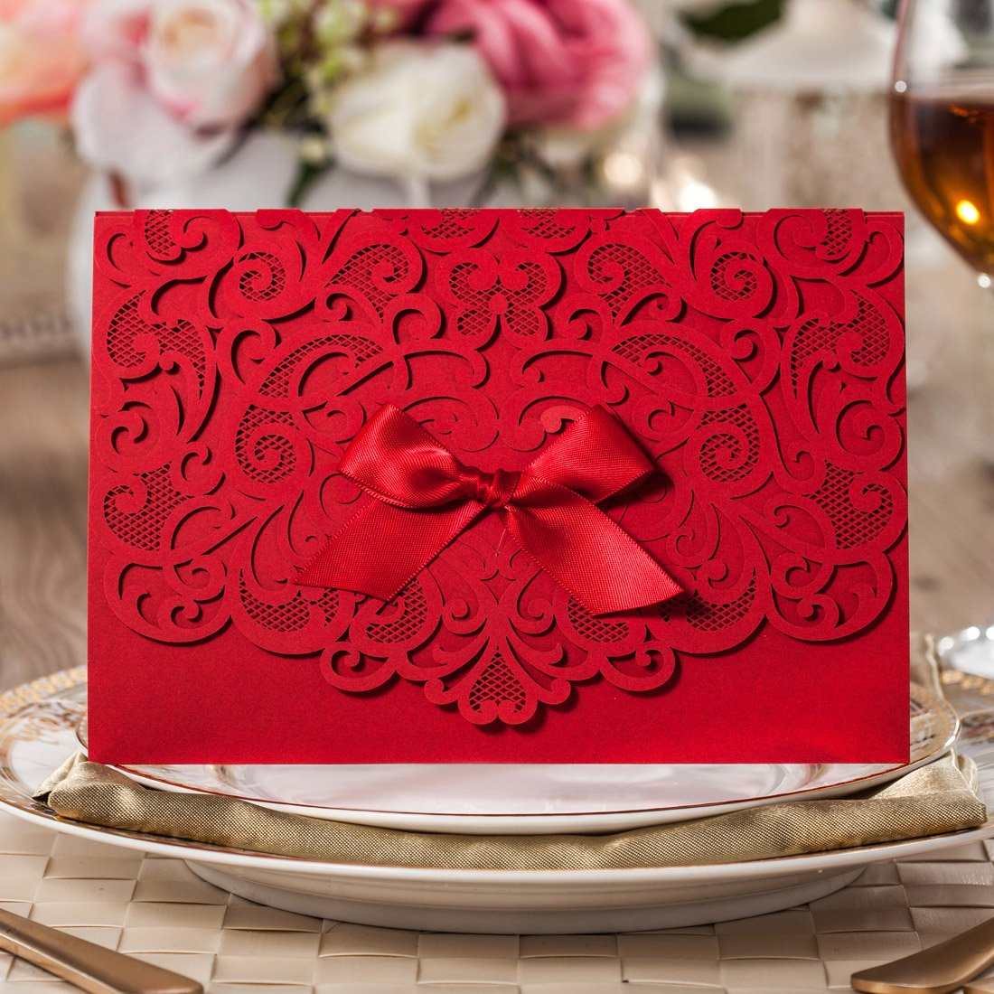 Wishmade 100x Elegant Red Laser Cut Wedding Invitation Cards Kits With Lace Bow Paper Cardstock