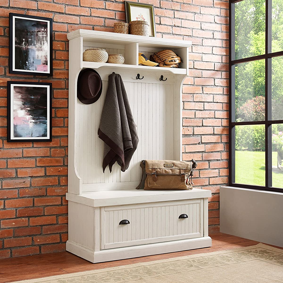 Crosley Seaside Hall Tree In Distressed White