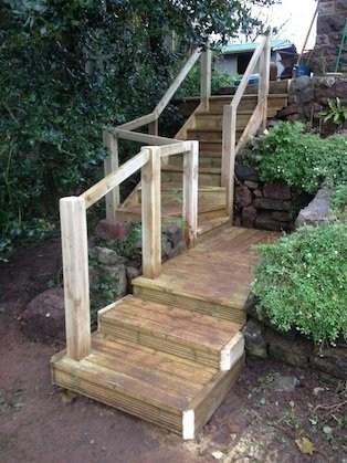 Replacing Old Wooden Garden Steps Ed Rogers | Wooden Handrail For Garden Steps | French Door Garden | Garden Stair | Landscape | Outside Step | Outdoor Near Me Step