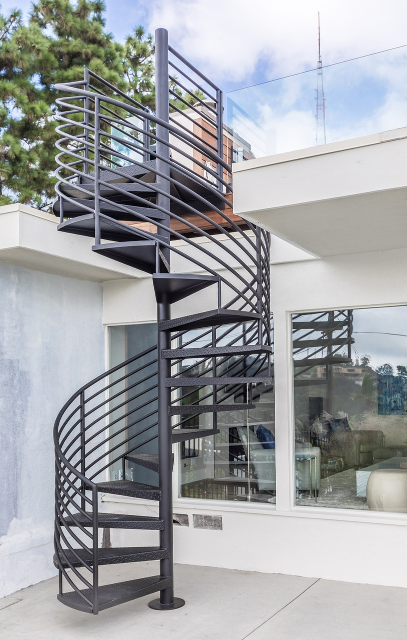 Spiral Outdoor Metal Staircase Eden Builders | Spiral Staircase Los Angeles | Loft | Handrail | 42 Inch | Romantic | Double Spiral