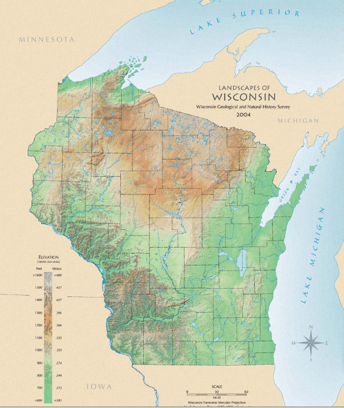 Environmental Education in Wisconsin   Landscapes of Wisconsin Map Landscapes of Wisconsin Map  2004   Free version online  Printed versions  available for a small fee  http   wgnhs uwex edu pubs m146