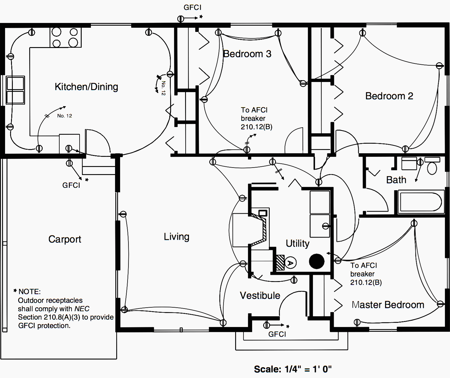 Floor plan of a residence showing the duplex receptacle layout