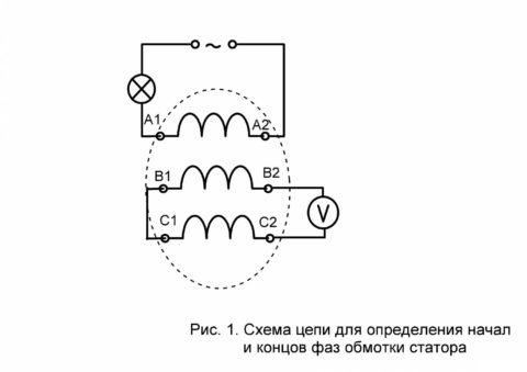 Электр қозғалтқышының орамасы мен ұшын анықтау схемасы