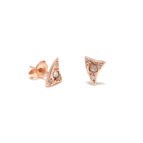 pink gold baby shark tooth studs