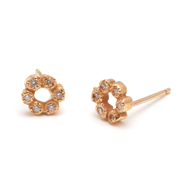 pink gold flower child studs