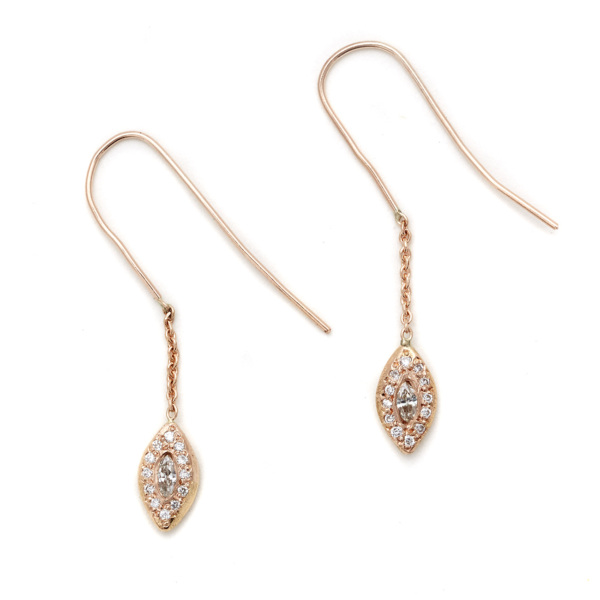 pink gold marquis eye dangling earrings