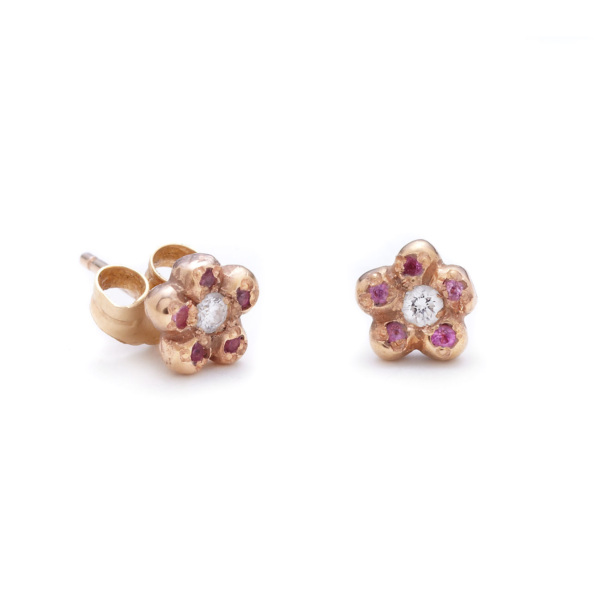 pink gold newflower studs