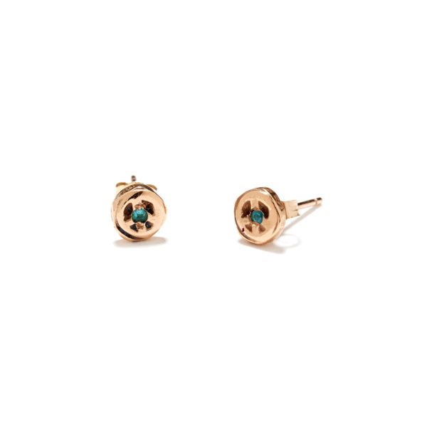pink gold peace disk studs
