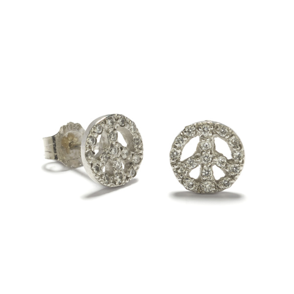 platinum peace sign studs