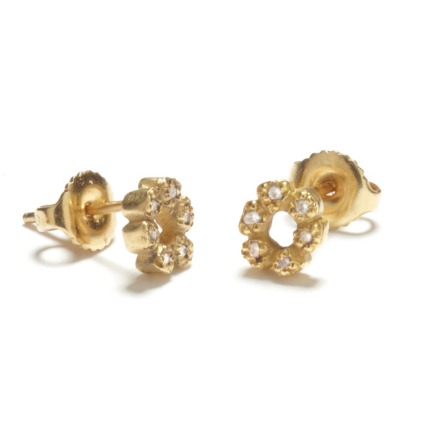 yellow gold flower child studs