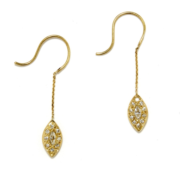 yellow gold marquis eye dangling earrings