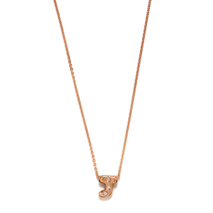 Pink Gold Initial Necklace - Elisa Solomon