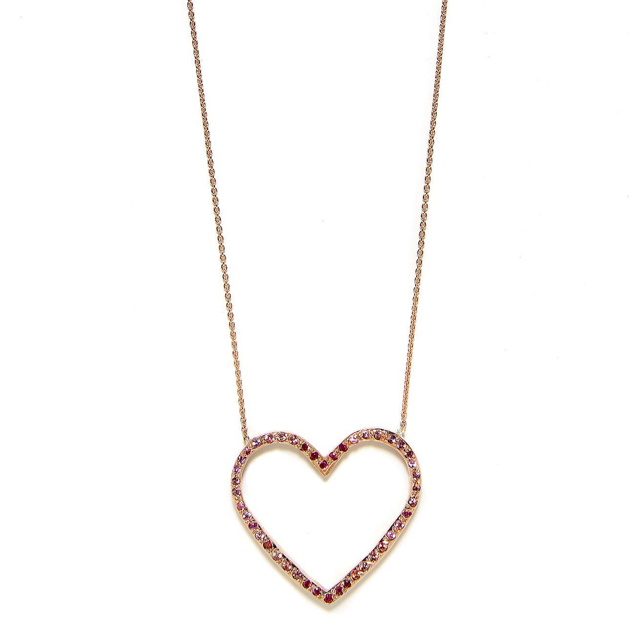 Pink ombre open heart necklace elisa solomon jewelry pink gold ombre large open heart necklace mozeypictures Choice Image