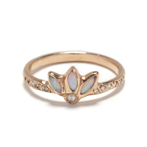 pink gold opal magic flower ring