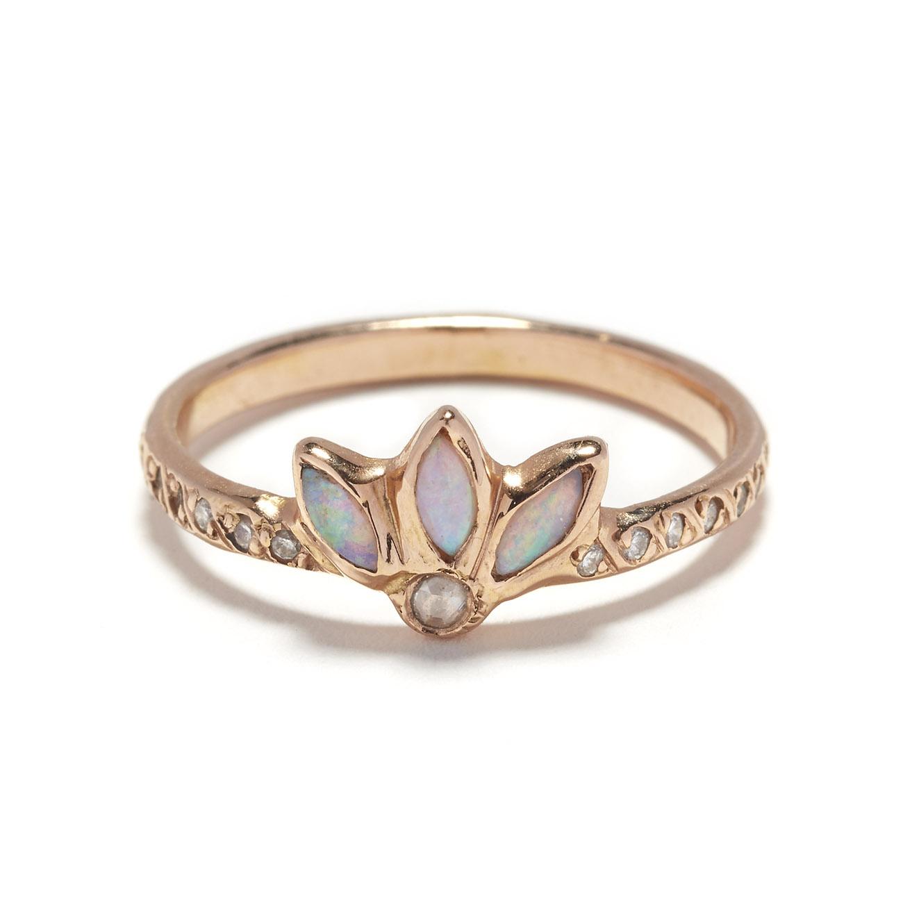 Pink Gold Opal Magic Flower Ring Elisa Solomon Jewelry