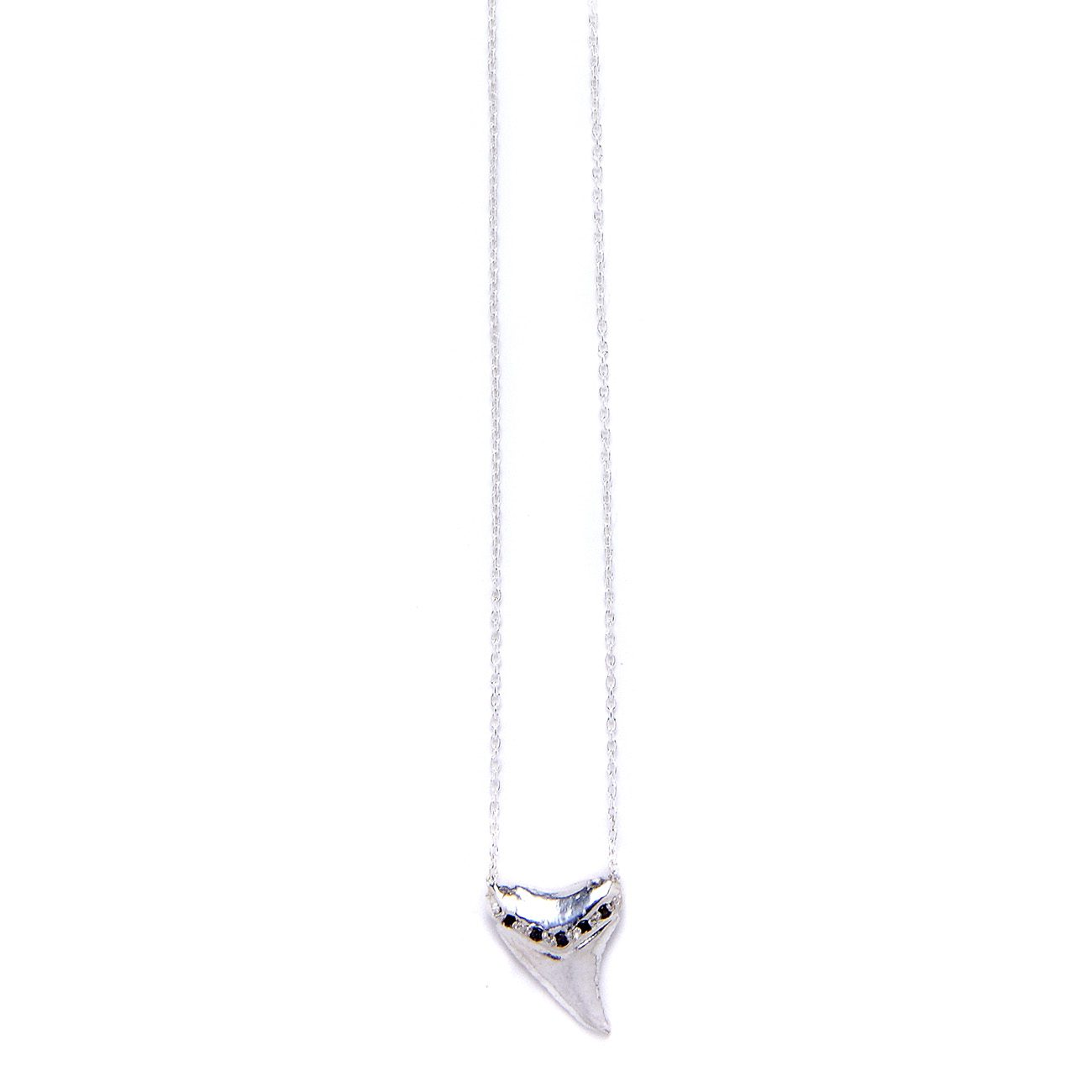 sterling silver black diamond shark tooth necklace