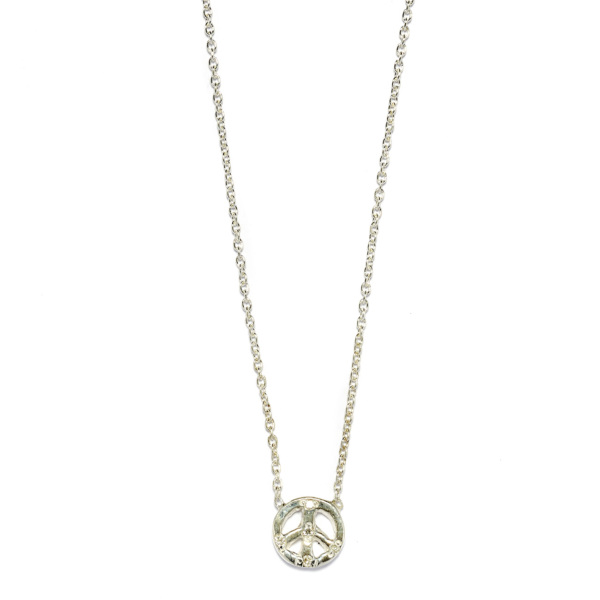 Elisa Solomon - Sterling Silver Diamond Tiny Peace Sign Necklace