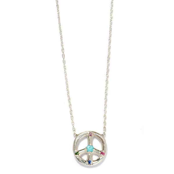 Elisa Solomon - Sterling Silver Medium Peace Sign Necklace