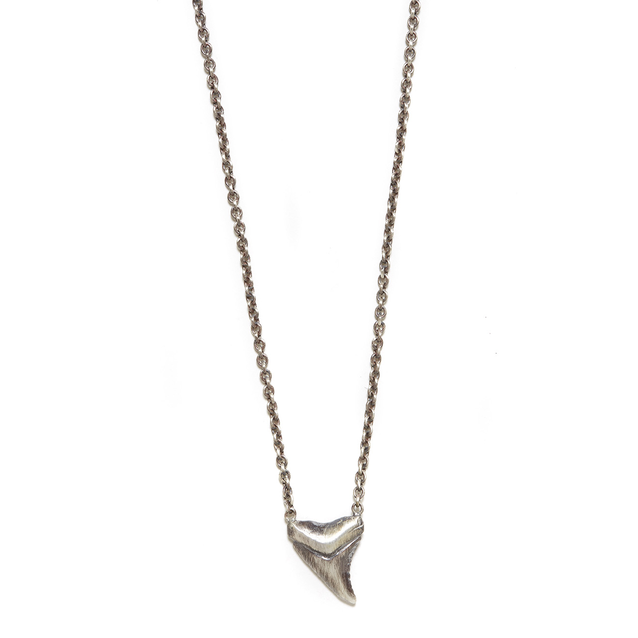 silver sterling tooth shark pendant