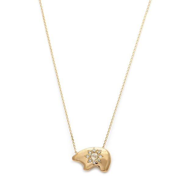 Elisa Solomon - Yellow Gold Bear Necklace