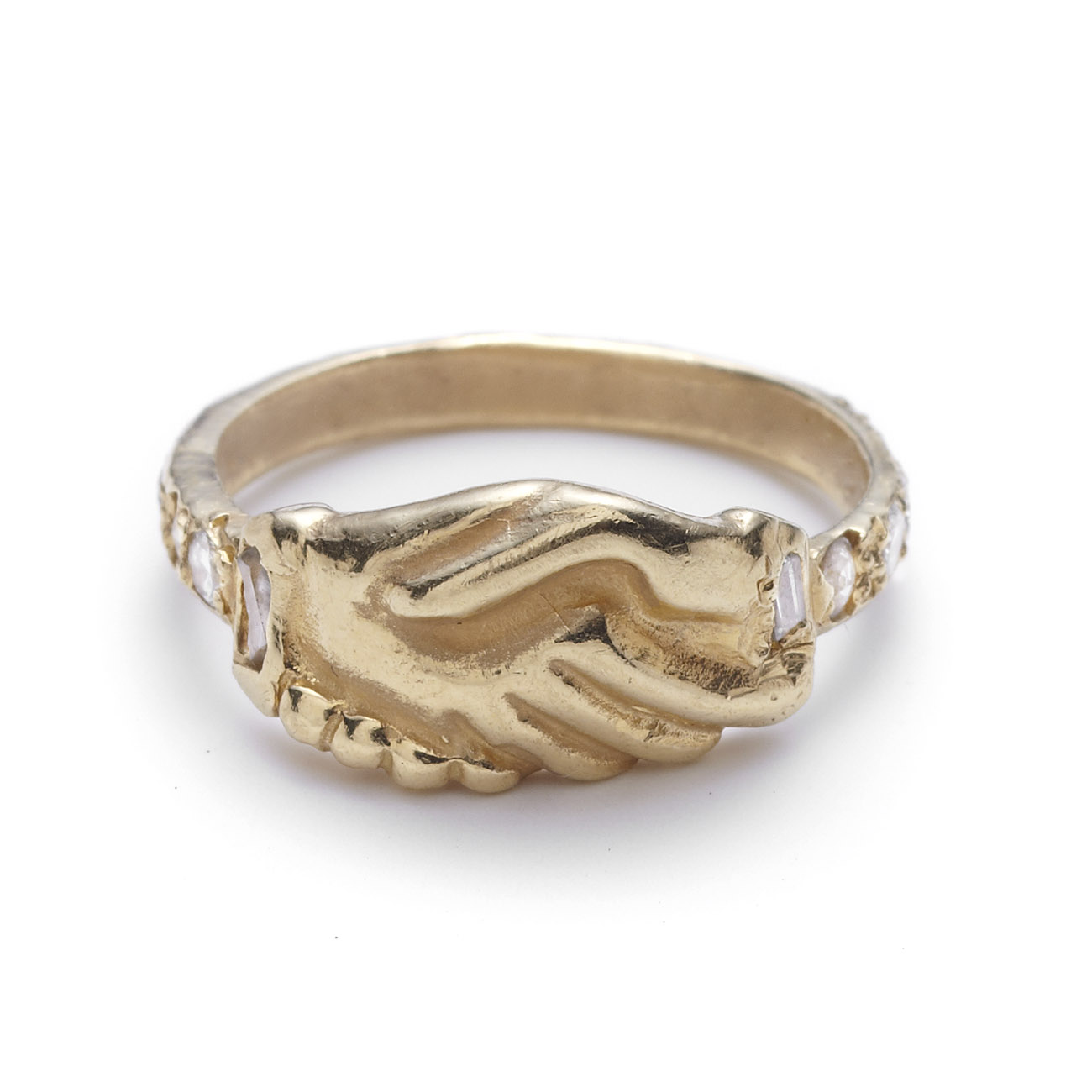 Yellow Gold Clasped Hands Ring - Elisa Solomon Jewelry