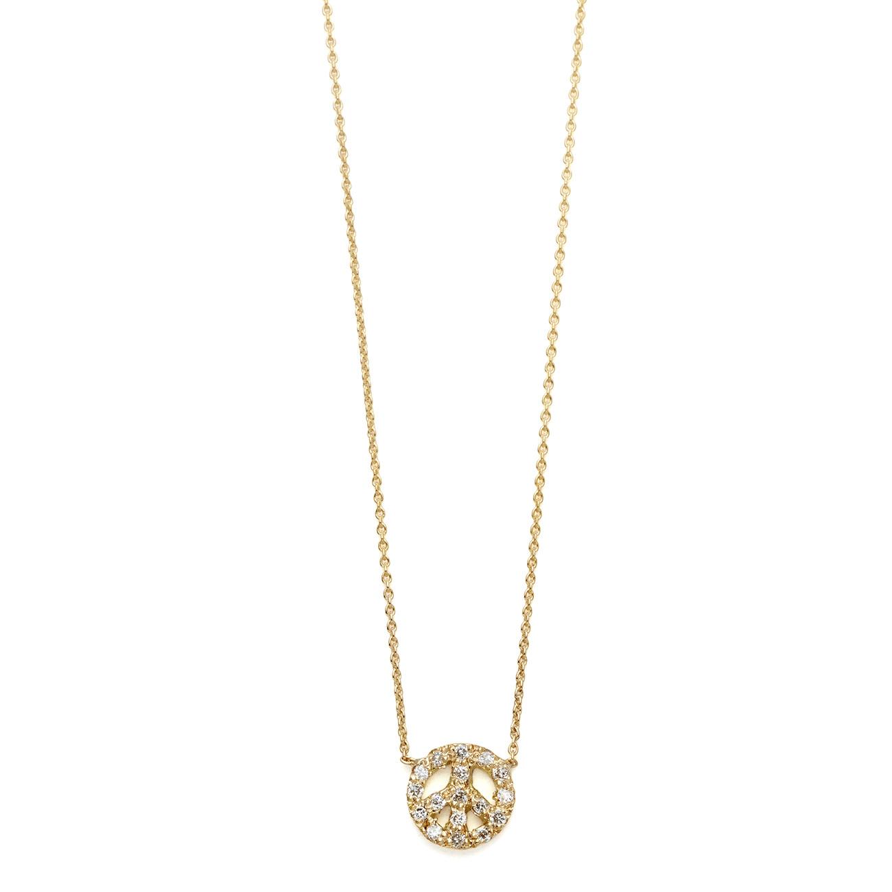 Diamond peace sign necklace elisa solomon jewelry yellow gold diamond tiny peace sign necklace mozeypictures Choice Image