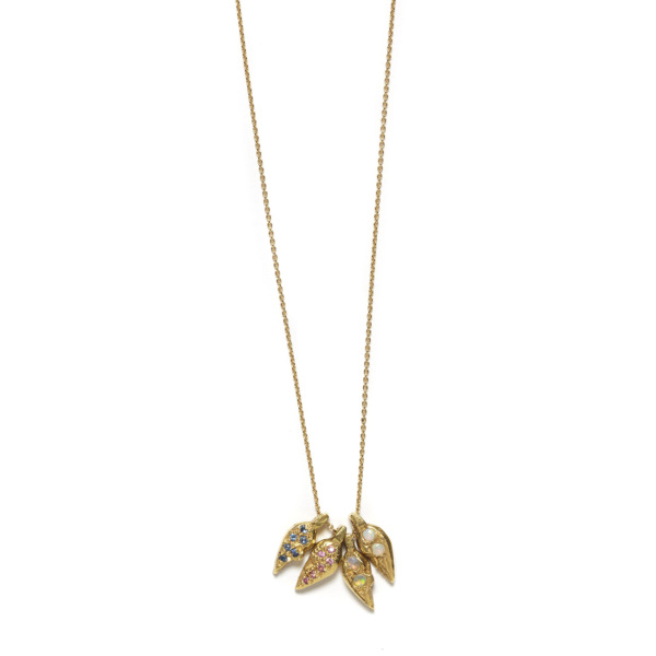 Elisa Solomon - Yellow Gold Heart Halves Necklace