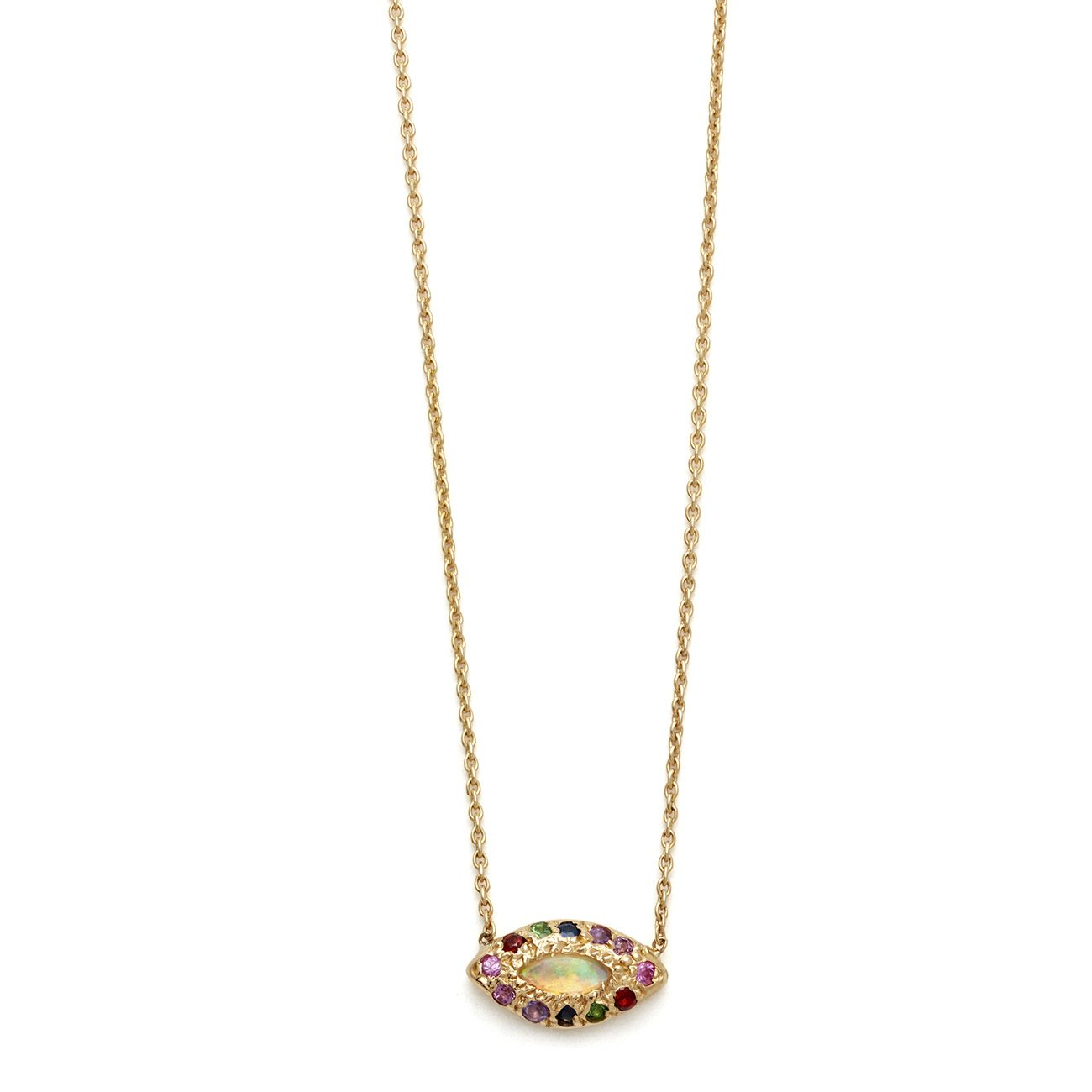 yellow gold marquis eye necklace