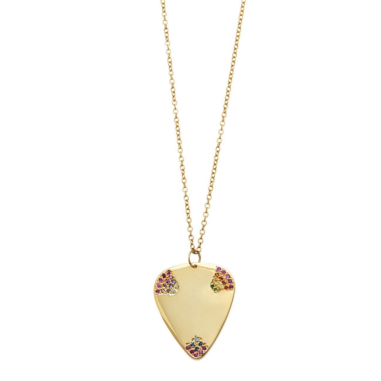 Multicolor guitar pick necklace elisa solomon jewelry yellow gold multicolor guitar pick necklace mozeypictures Choice Image