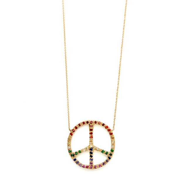 Elisa Solomon - Yellow Gold Ombre Rainbow Large Peace Sign Necklace