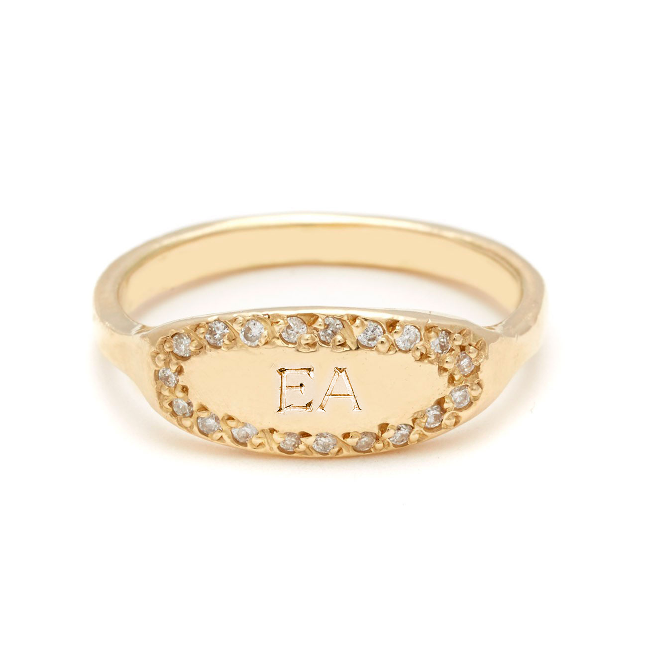 yellow gold oval signet ring 2 bold letters