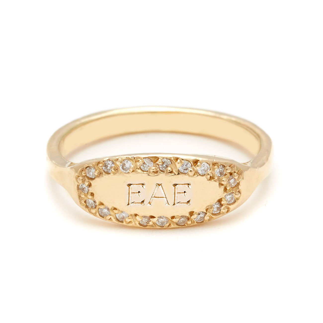 yellow gold oval signet ring 3 bold letters