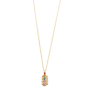 yellow gold rainbow small feather necklace
