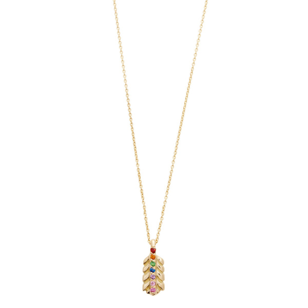 Elisa Solomon - Yellow Gold Rainbow Small Feather Necklace