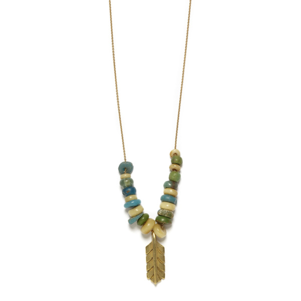 Elisa Solomon - Yellow Gold Feather Necklace With Beads