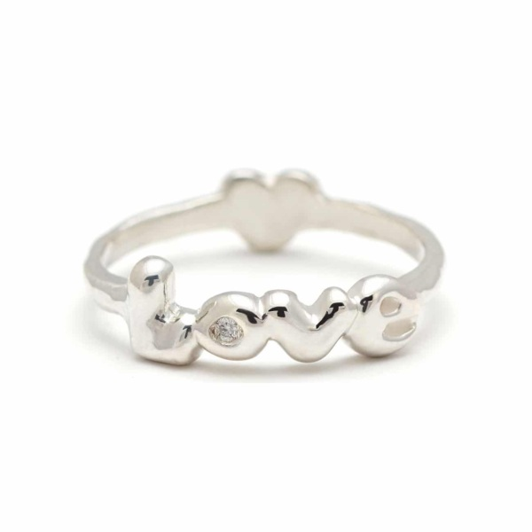 Sterling Silver Love Heart Back Ring