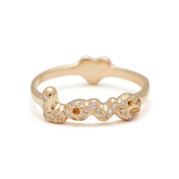 Yellow Gold Love Heart Back Ring