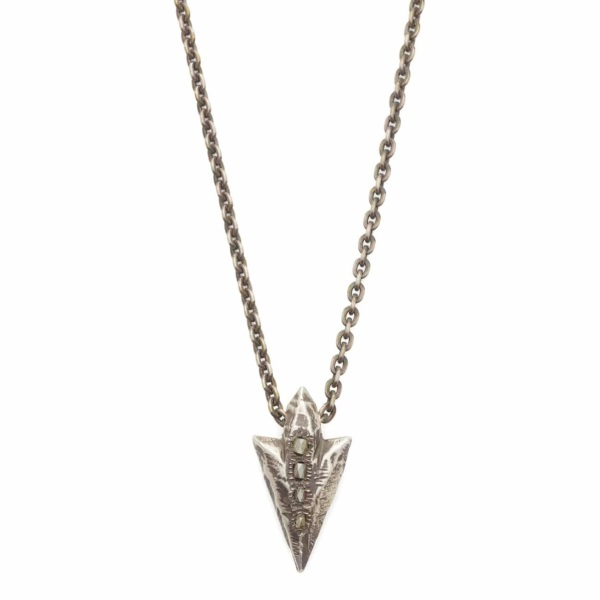 Blackened Sterling Silver Arrowhead Necklace with 4 Rough Diamonds